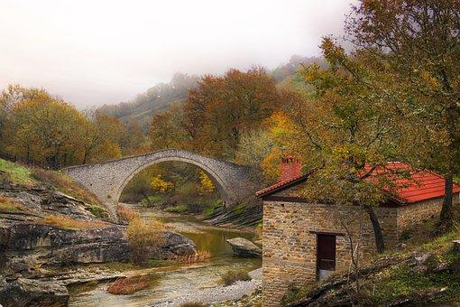 Bridge, River, House, Panorama, Architecture, Landscape