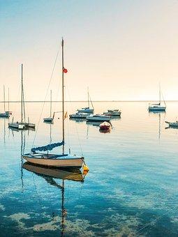 Sailboats, Sea, Sailing, Nautical, Horizon, Stillness