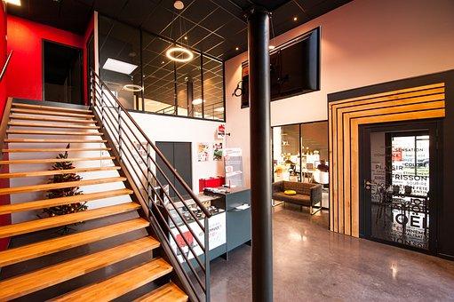 Wood, Office, Lights, Home, Work, Entry, Design, Modern