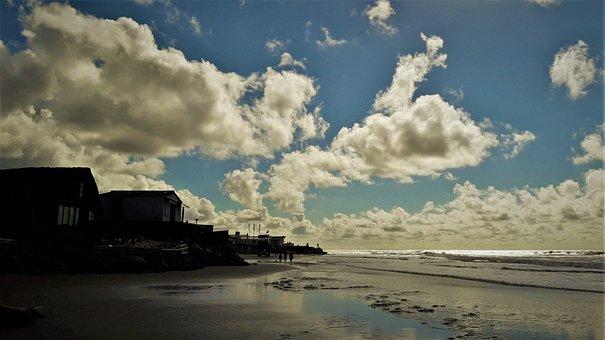 Beach, Sky, Houses, Sand, Sea, Ocean, Clouds, Landscape