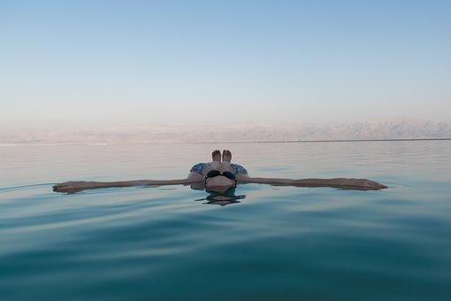 Dead Sea, Floating, Blue, Water, People, Tanning, Sea