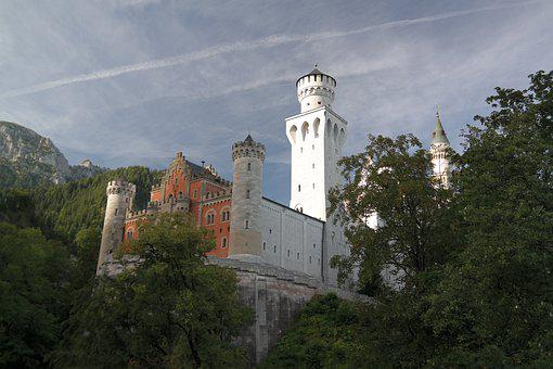 Castle, Towers, Mountains, Panorama, Sky, Clouds