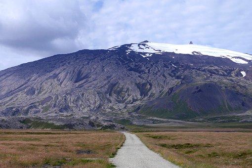 Volcano, Glacier, Path, Meadows, Mountain, The Sky