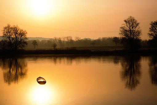 Morning, Lake, Surfboard, Landscape, Water, Nature
