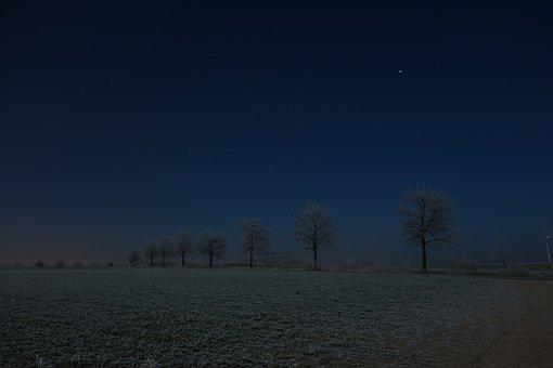 Dark, Night, Winter, Snow, Ice, Cold, Sky, Star