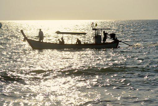 Backlight, Silhouette, Boat, Thailand, Shadow, Template