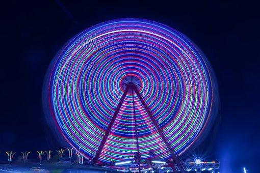 Park, Luna, Circus, Sky, Colorful, Fun, Ride, Wheel