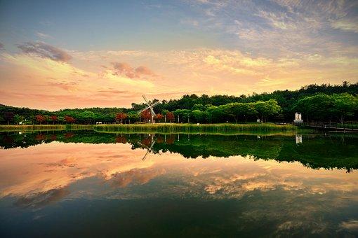 Landscape, Background, Reflect, Nature, Cloud, Sky