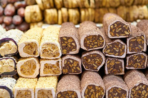 Turkish Delight, Confectionery, Candy, Food, Walnut
