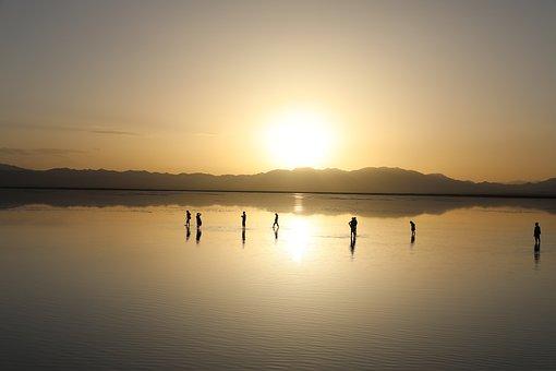 Caka Salt Lake, Sunset, Sunshine, Golden Yellow