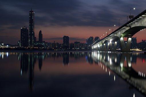 Han River, Night View, Seoul, Bridge, Korea, Night