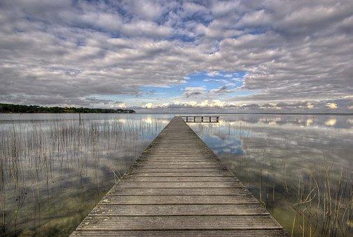 Pontoon, Lake, Landscape, Water, Nature, Clouds, Sky