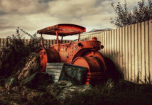 Steamroller, Old, Industrial, Vintage, Machinery