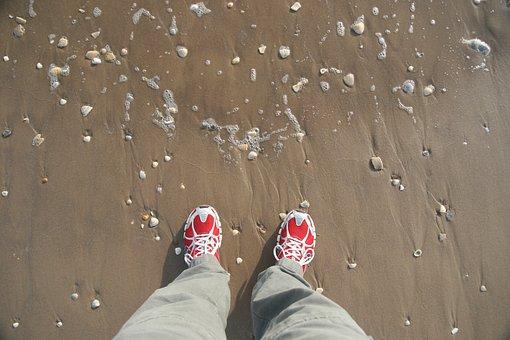 Shoes, Beach, Sand, Sneakers, Feet, Legs, Mussels, Sea