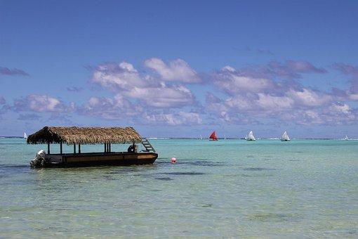 Rarotonga, Island, Pacific, Flat, Bottom, Boat, Ocean