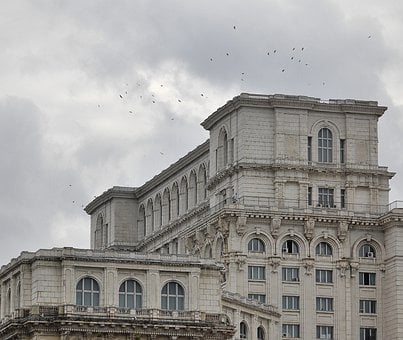 People's House, Palace Of Parliament, Birds, Clouds