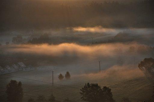 Sunrise, Mountains, The Fog, Holidays, Panorama, Mood
