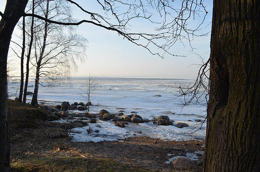 Finnish, Bay, Landscape, Ice, Trees, Spring, Cold, Sky