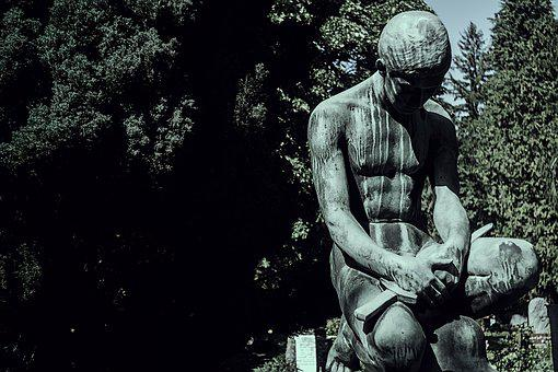 Statue, Sculpture, One, Trees, Body, Shadows, Branches