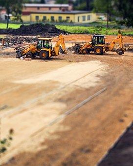 Excavator, Excavators, Building, Sand, Machine, Vehicle