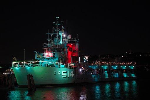 Boat, Vessel, Navy, Night, Lights, Water, Harbor