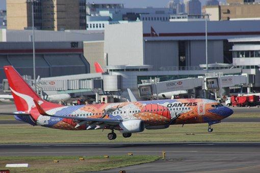 Qantas, Plane, Aboriginal, Paint, Boeing, 737, Landing