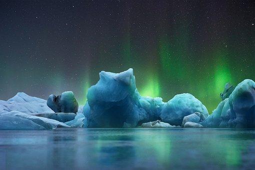 Landscape, Ice, Aurora Borealis, Cold, Glacier, Blue