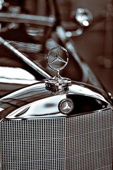 Automotive, Cooler, Star, Chrome, Oldtimer, Mercedes