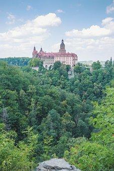 Castle, Książ, History, Fortress, Building, Landscape