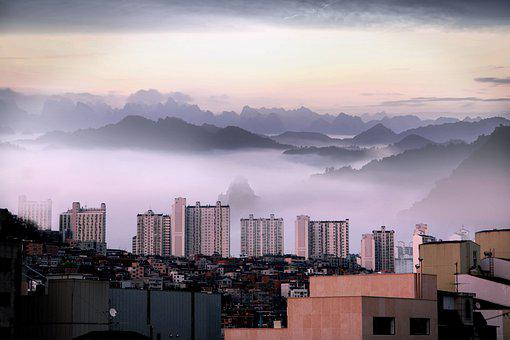 Past And Modern, Nature And City, City, Mountain, 21c