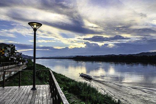 Sunset, River, Thailand, Nature, Clouds, Landscape