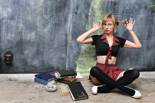 Schoolgirl, School, Books, Blackboard And Chalk