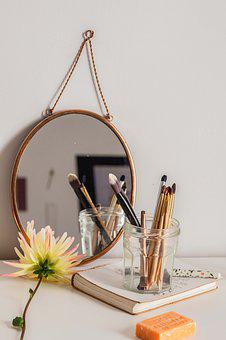 Vintage, Still Life, Self-care, Yellow, Gold Mirror