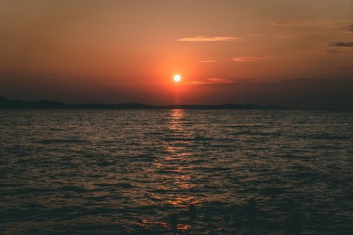 Sunset, Zadar, Croatia, Sea, Summer, Sky, Ship, Clouds