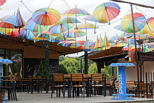 Terrace, Restaurant, The Tables, Chairs, Umbrellas