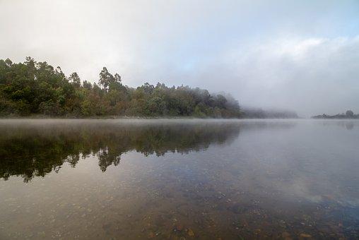Dawn, River, Miño, Sky, Landscape, Nature, Water