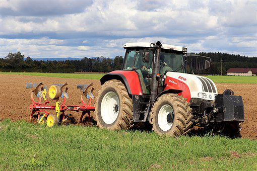 Tractor, Plough, Agriculture, Arable Land, Arable, Plow