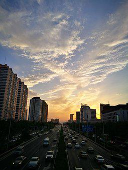 Beijing, Four Loop, Traffic, Sunset
