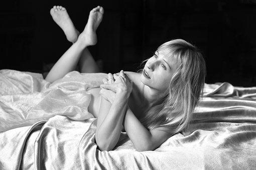 Portrait, Bed, Sheet, Blonde, Interior, Posing
