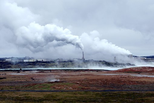 Power Plant, Steam, Water, The Sky, Clouds, Nature
