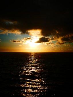 Sunset, Clouds, Dark, Sea, Shipping, Water, Reflection