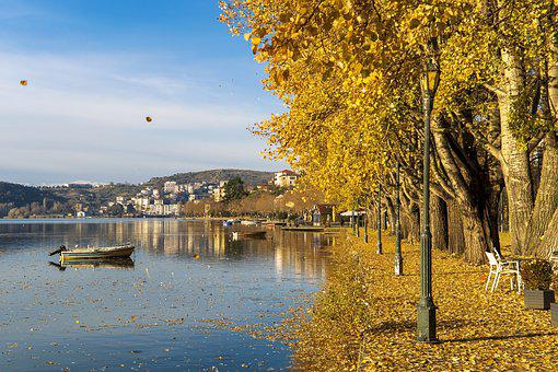 Autumn, Fall, Lake, Kastoria, Greece, Colorful