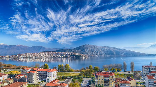 Town, Kastoria, Greece, Clouds, Mood, Lake, Nature