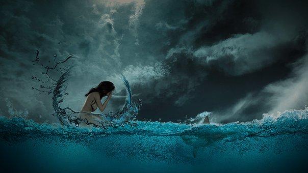 Fantasy, Sea, Hai, Woman, Fear, Composing, Romantic