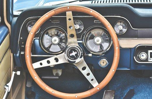 Ford Mustang, Steering Wheel, Tachometer, Oldtimer