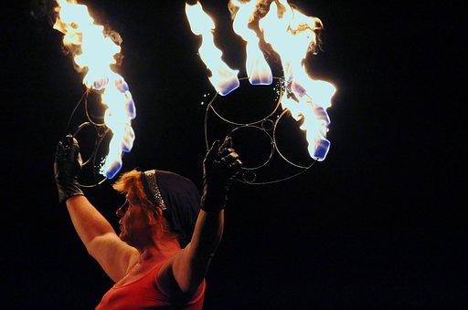 Woman, Artist, Fire, Fire Show, Demonstration, Burn