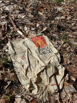 Autumn, Paper, Bag, Mcdonald, Garbage, Waste, Transient