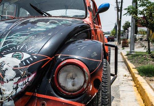 Beetle, Bug, Vw, Volkswagen, Car, Automobile, Street