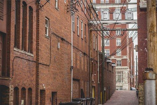 Buildings, Apartments, Bricks, Alley, Trash Cans