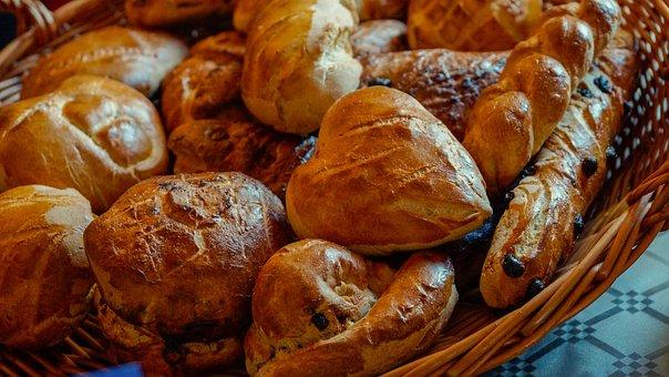 Bread, Basket, Roll, Food, Staple, Baked, Brown, Crust